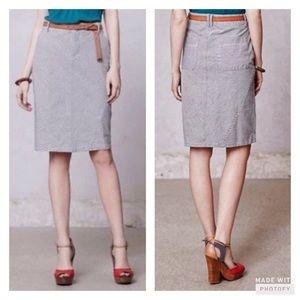 Anthropologie Railway Stripe Denim Skirt